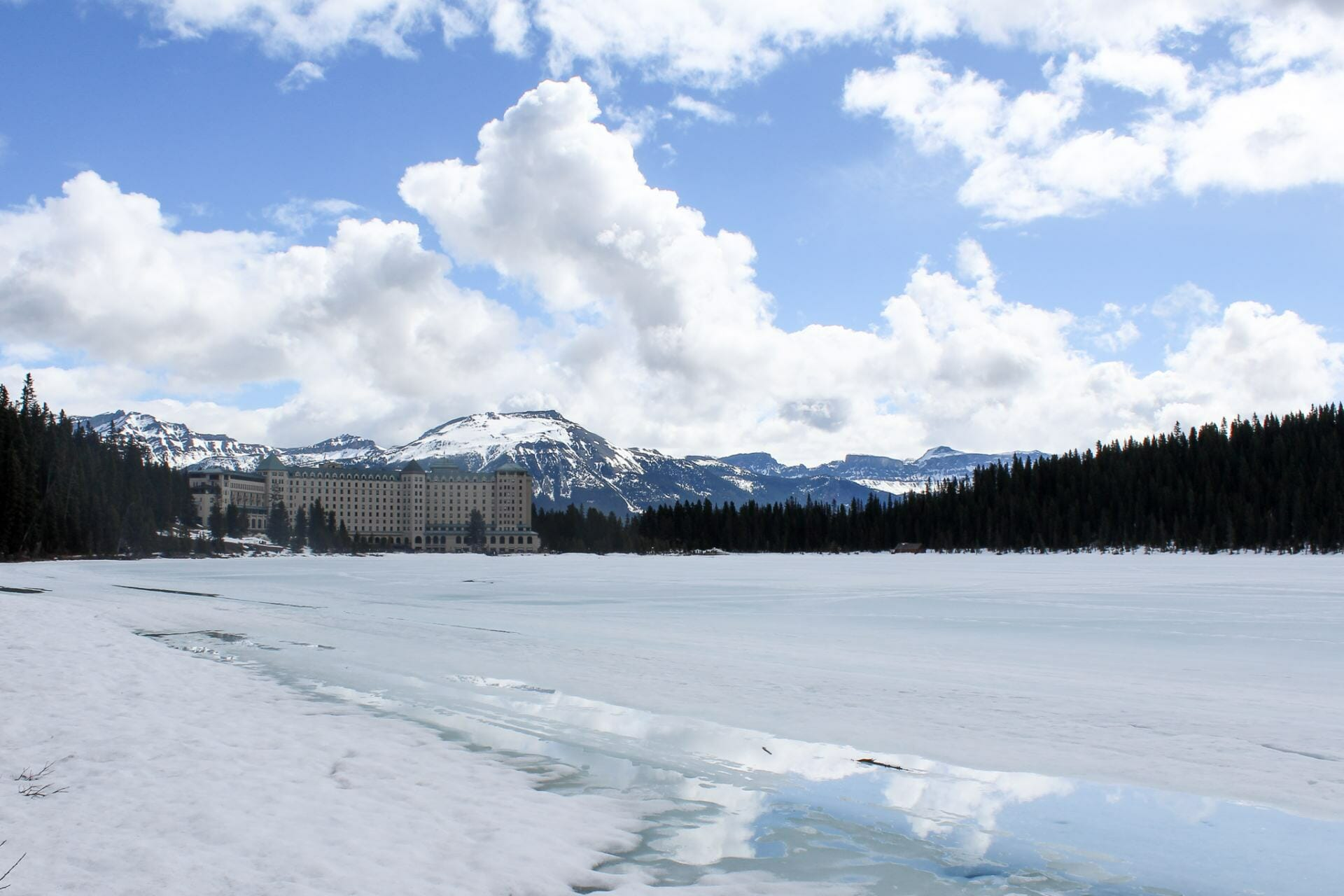 Looking back at Chateau Lake Louise