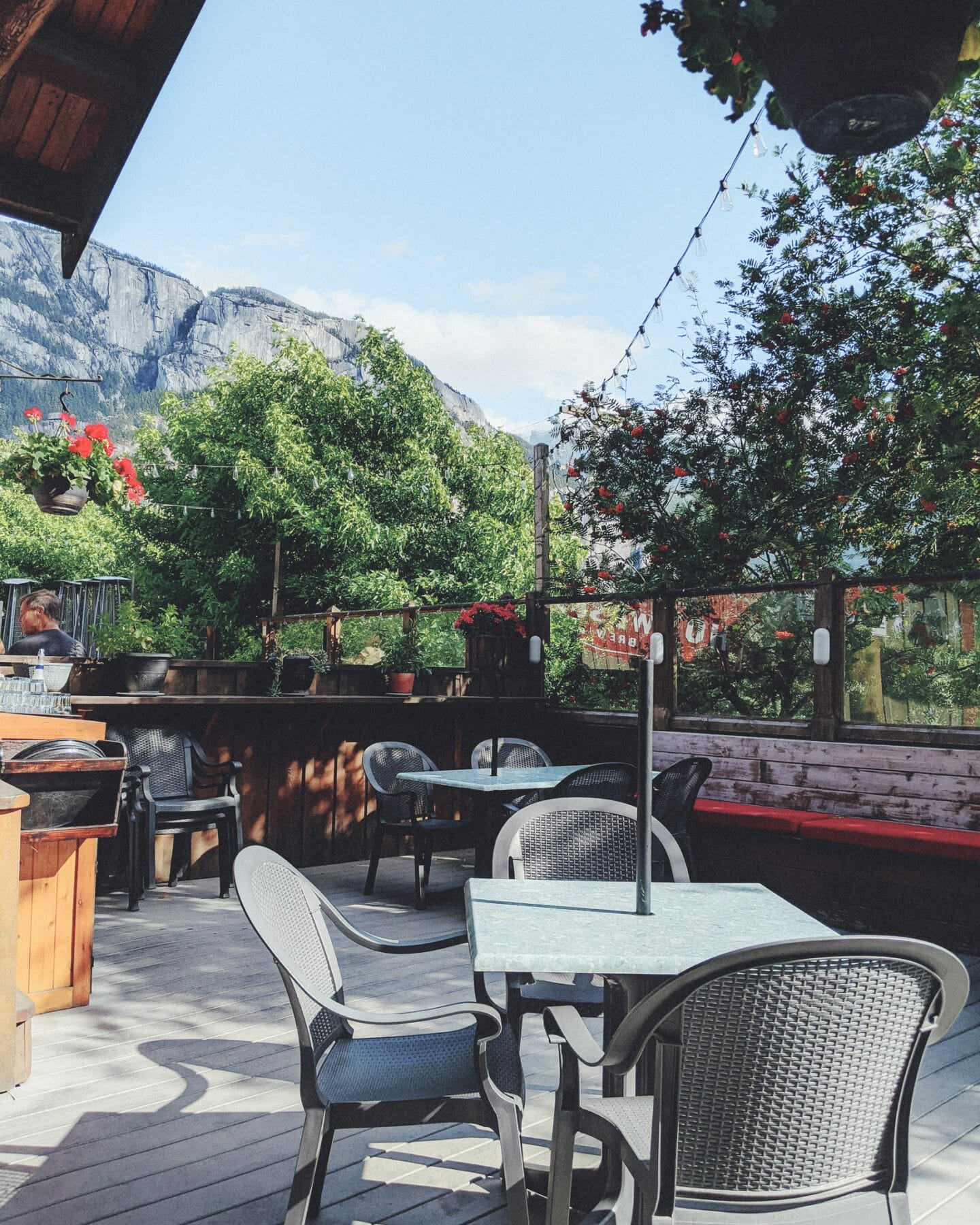 The beautiful outdoor patio at Howe Sound Brewpub